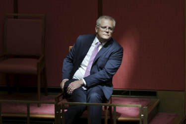 Scott Morrison, watching Mathias Cormann deliver his last address in the Senate, says the government's tax cuts will help support the economy.