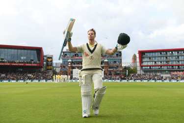 Steve Smith after making a double century in the fourth Ashes Test in Manchester last year.