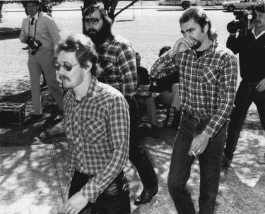Members of the Banditos Bikie group appeared at Bankstown Court on charges of affray and serious affront and alarm. September 12, 1984.