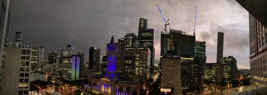 The sky over Brisbane City about 5.15pm on Wednesday, as the storm started to blow over.