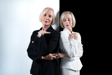 Catherine McGregor, left, and Heather Mitchell, who is playing Catherine in a new Sydney Theatre Company play.