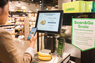 Apps like Woolworths'Scan&Go let shoppers add their goods to an online shopping basket and pay as they walk around the store.