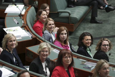 Peta Murphy, sitting in the front row in a grey jacket, joins other newly elected MPs during a tour of Parliament last month.