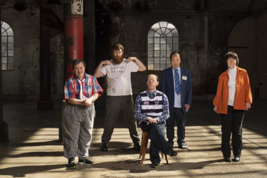 Mark Deans, Scott Price, Simon Laherty,  Michael Chan and Sarah Mainwaring, the cast of The Shadow Whose Prey the Hunter Becomes.