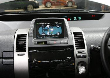 Dashboard of Toyota Prius, a hybrid model on display at the Melbourne Motor Show in 2018.