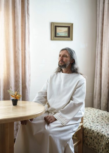 In 1988, the man born Sergei Torop lost his job as a traffic policeman. Shortly afterwards, as the Soviet Union unravelled around him, he had his first revelation that he was Jesus Christ. Vissarion, the Christ of Siberia, has since gathered a following of 5000 to 10,000 disciples. Krasnoyarsk Territory, Russia, 2016.