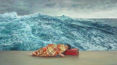 Julia Ciccarone's self-portrait The Sea Within. Oil on linen, 101.5 x 183.5cm. © the artist.