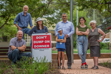 Downer Community Association convenor Miles Boak, pictured above (far left), with residents concerned about the future of their suburb