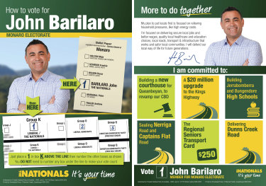 "John Barilaro is among the National Party MPs whose How-to-Vote cards direct voters to put a ""2"" next to the Liberal Democrats."