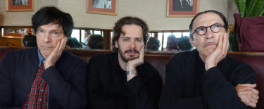 From left, Russell Mael, director Edgar Wright and Ron Mael have made a documentary about Sparks' off-centre musical career.