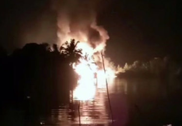 Fire is seen from a pipeline explosion in Nigeria.