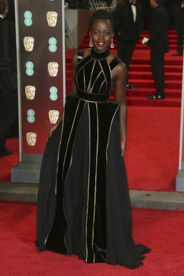 Actress Lupita Nyong'o was one of many stars who wore black to the BAFTA Awards.