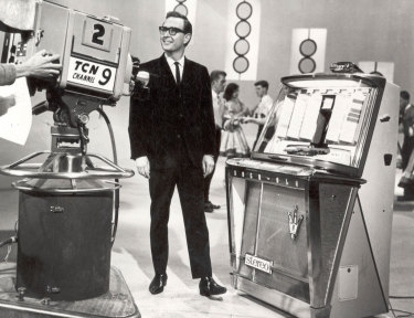 An undated photo of Bandstand host (and former channel Nine newsreader) Brian Henderson on the Bandstand set.