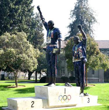 The statue of Tommie Smith and John Carlos in San Jose.