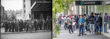 Unemployment queues in Australia in 1935 and then in March 2020.