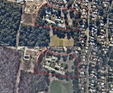 Before and after aerial shot of Broulee Public School, which lost a shed during last summer's bushfires.