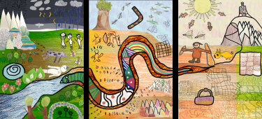 Three-panel design by St Georges Road PS pupils for the Dunggula digital touch book and an interactive map.