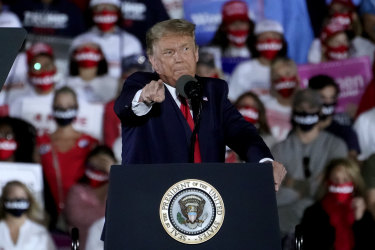 Donald Trumps speaks at a rally in Georgia on Friday night.