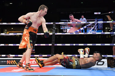Over and out: Jeff Horn was impressive fighting at a heavier weight in the mismatch against Anthony Mundine.