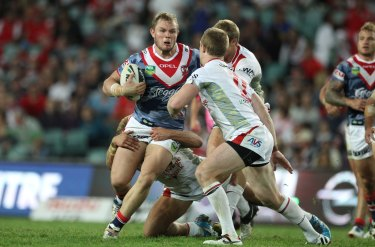 Martin Kennedy in action for the Roosters against the Dragons in 2013.