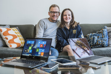 "Dan and Grace Cox, one of many families struggling with the ""device dilemma."""