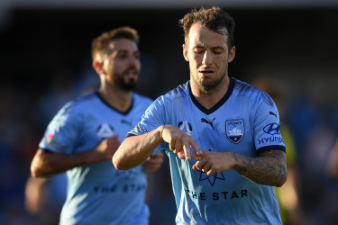 A-grader: Adam Le Fondre's trademark goal celebration, a tribute to his 'A-team' - wife Amy and kids Amelia, Ariana and Aubree.