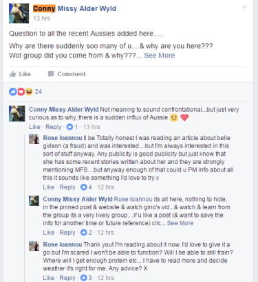 Belle Gibson's post about enemas on the Facebook page Master Fast System is attracting new followers to the dieting system.