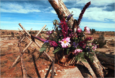 Flowers at the Laramie, Wyoming fence where Shepard was left to die.