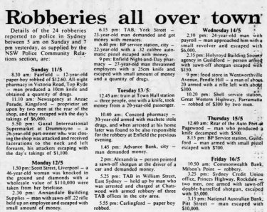 The robbery of the National Bank on Pitt Street on Friday, May 16 1986 rounded out a particularly busy week for Sydney's armed bandits.