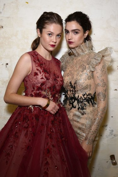 Models pose backstage ahead of the Steven Khalil show.