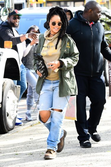 Rihanna takes the casual approach to military dressing.