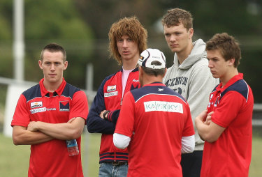 Melbourne's new recruits, including Tom Scully (far left), in 2009.
