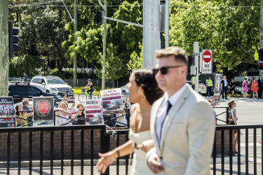People protested against horse racing outside Randwick on Saturday as a big crowd was anticipated for The Everest.