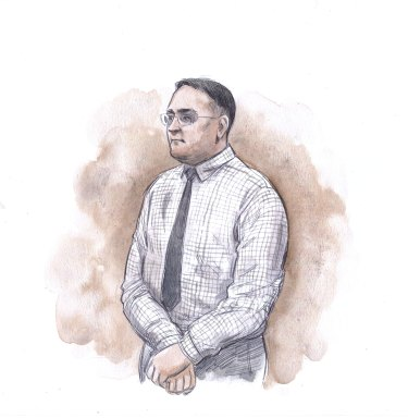 Sketches of Bradley Edwards, drawn during his sentencing on December 23, 2020.