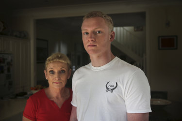Fran Evans, pictured with her son Duncan, said there is always a risk of concussion in contact sports such as rugby union.