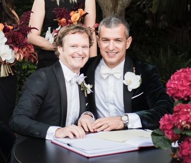 Duncan Peerman and Paul Zahra make it official on their wedding day.
