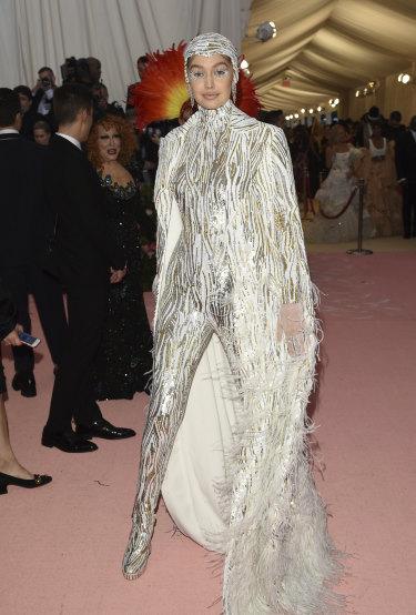 Gigi Hadid pre human cannon ball performance.