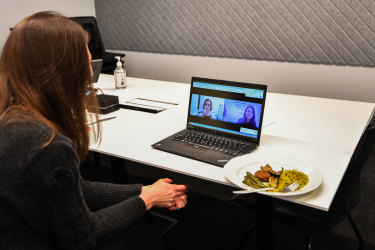 Jewel Topsfield with her leftovers while 'lunching' with Julia Gillard.