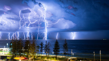 Perth photographer Steve Yanev's shot of lightning over Scarborough, titled 'Glorious Nature at its Best'.