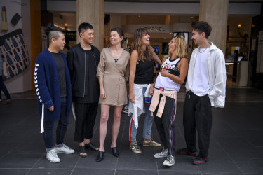 The 2018 National Designer Award finalists (from left)  Chris Ran Lin, Brian Huynh (MNDATORY), Merryn Kelly (Third Form), Claire Tregoning and Pip Edwards (P.E. Nation), and Rong Jake Chen (AMXANDER).