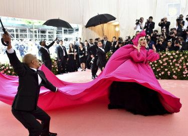 Grand entrance ... Lady Gaga arrives at the Met Gala.