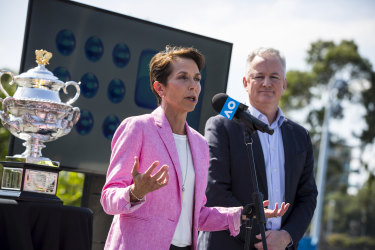 Channel Nine CEO Hugh Marks and Tennis Australia President Jayne Hrdlicka announced in March Nine would be the official broadcaster from 2020.