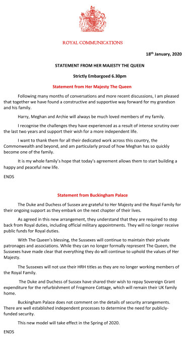 A handout issued by Buckingham Palace after a deal was struck on the future of the Duke and Duchess of Sussex.