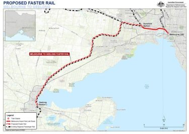 The proposed fast rail from Melbourne to Geelong.