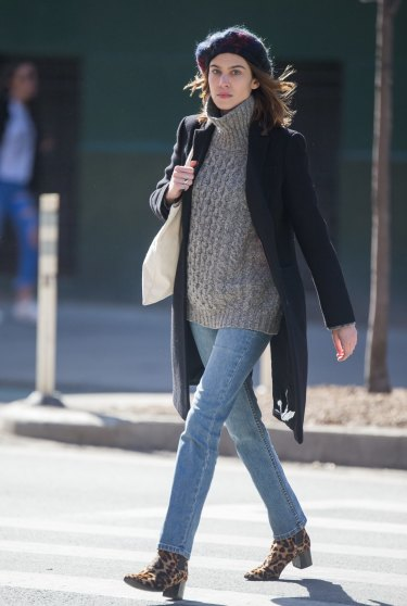 Alexa Chung gets playful with her footwear but keeps her jeans classic.