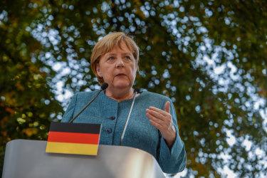 Angela Merkel addresses the media.