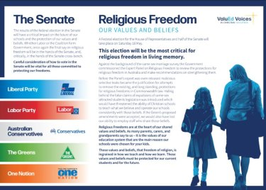 Parents with children at Christian schools are being urged to consider the protection of religious rights.