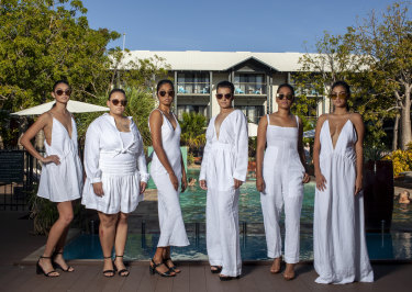 Local indigenous models in Broome for the Cable Beach Polo tournament.
