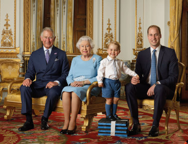 Recent portrait of the Queen and the three heirs to the throne.
