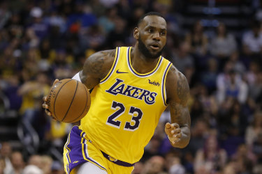 NBA star LeBron James in action with for the Los Angeles Lakers in March 2019.